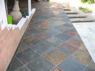 18 Inch Slate Tile Installation For Outdoor Patio And Walkway In San Go Photo Images