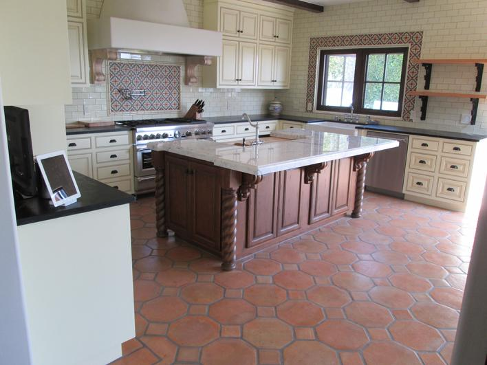 Kitchen radiant heated hot floor tiles