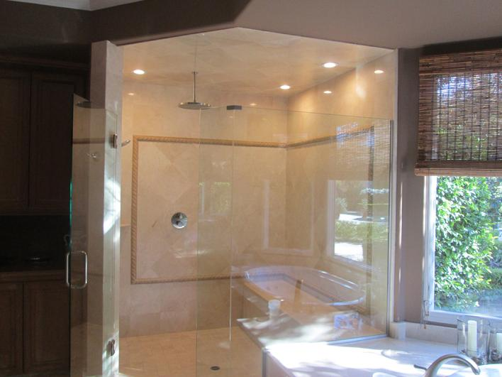 CREMA MARFIL MARBLE TILE SHOWER INSTALLATION PHOTO IMAGE