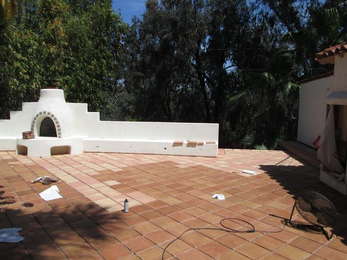 Great! Looking Stained Saltillo Tile Patio Floor