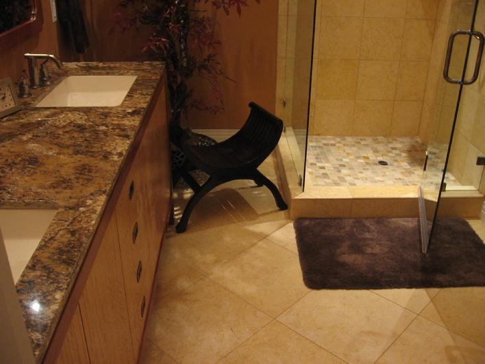 LIMESTONE SHOWER WALLS & FLOOR & QUARTZITE MOSAIC TILE SHOWER PAN