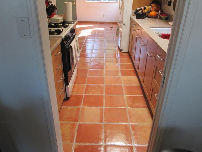 OMG! STRIPPING CLEANING & RESEALING SALTILLO TILE KITCHEN FLOOR IN SAN DIEGO