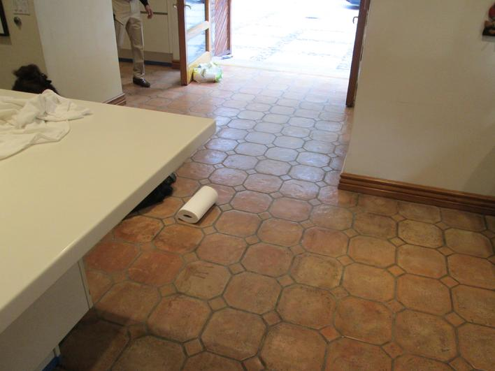 STAINED & DIRTY SALTILLO TILE FLOOR LOS ANGELES
