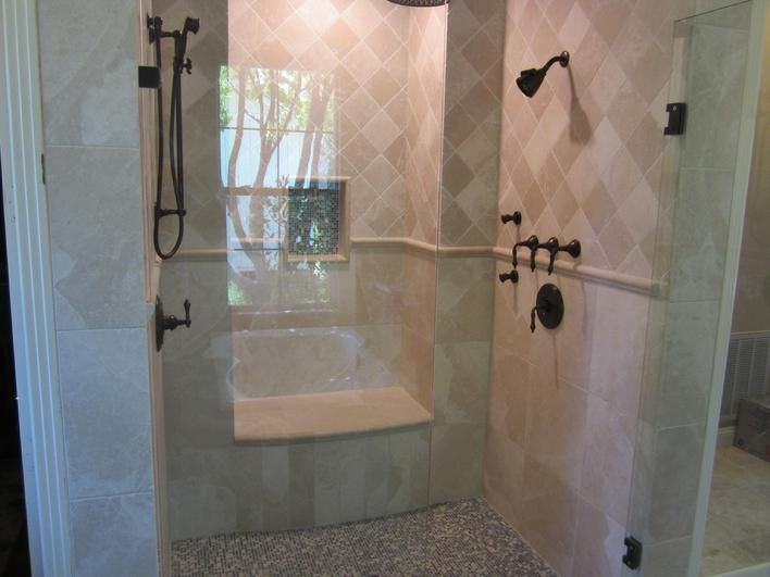 Brand New Installation of Crema Marfil Marble Tiles in San Diego ca