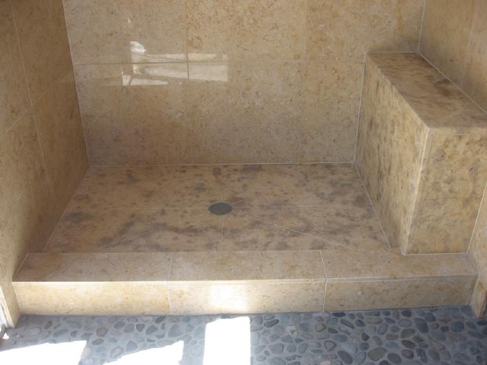 ONE PIECE FULL SLAB LIMESTONE SHOWERPAN.