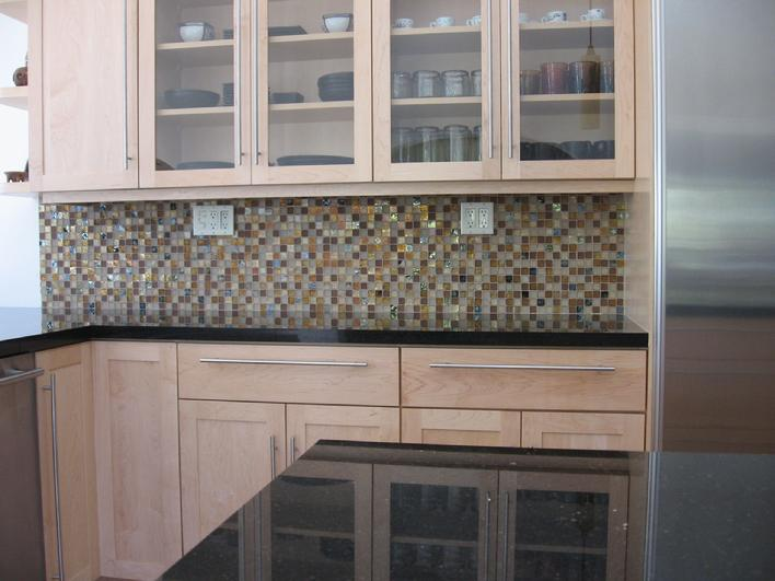 one inch Oceanside Mosaic Glass Tiles installed in San Diego.